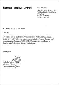 letter to manufacturer
